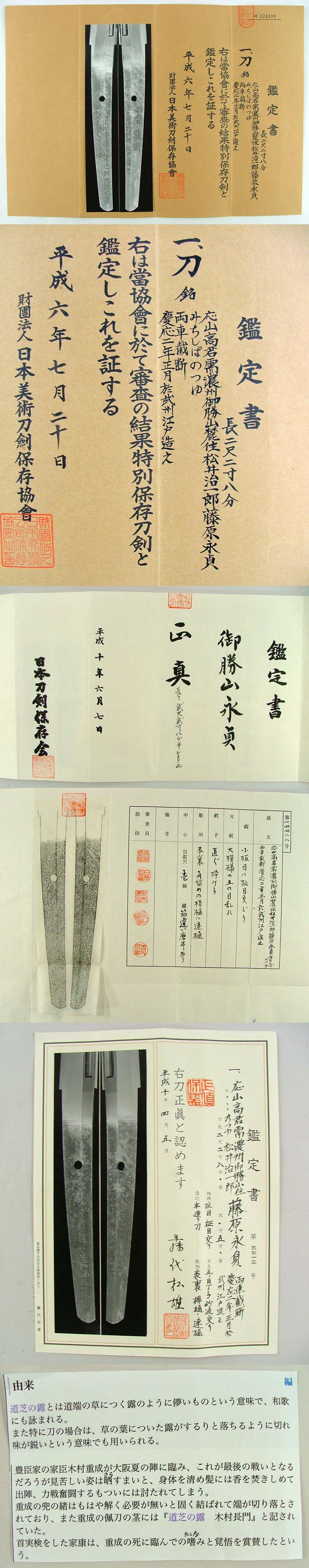 応山高君需 濃州御勝山麓住松井治1郎藤原永貞 みちしばのつゆ Picture of Certificate