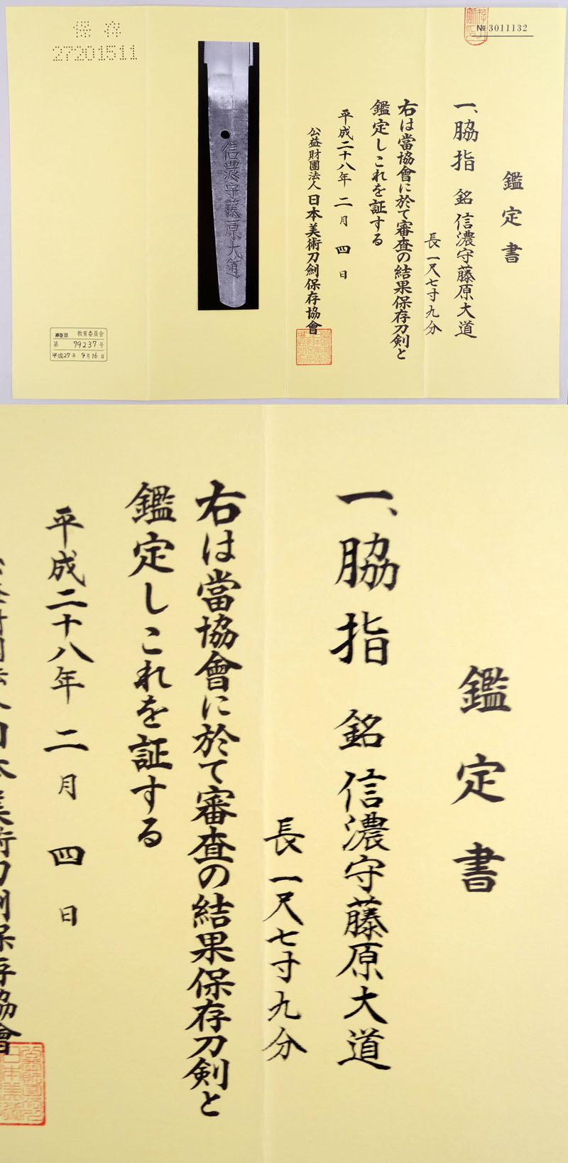 信濃守藤原大道 (児手柏) Picture of Certificate