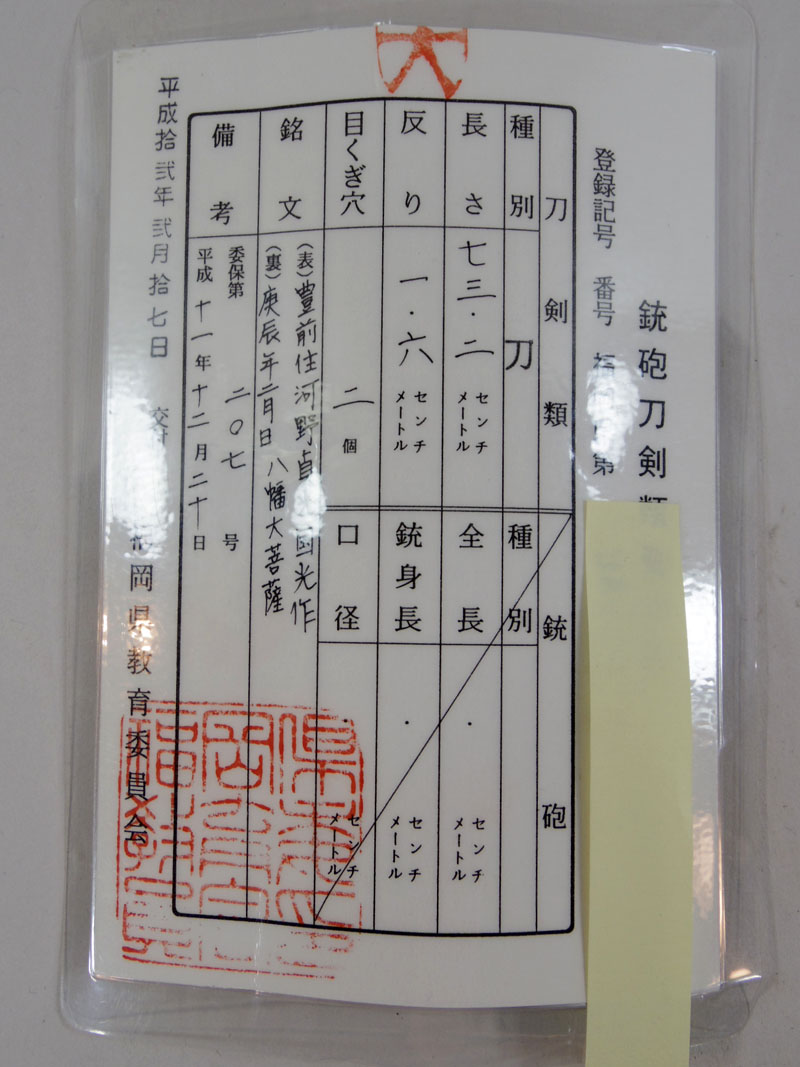 豊前住河野貞光国光作 Picture of Certificate
