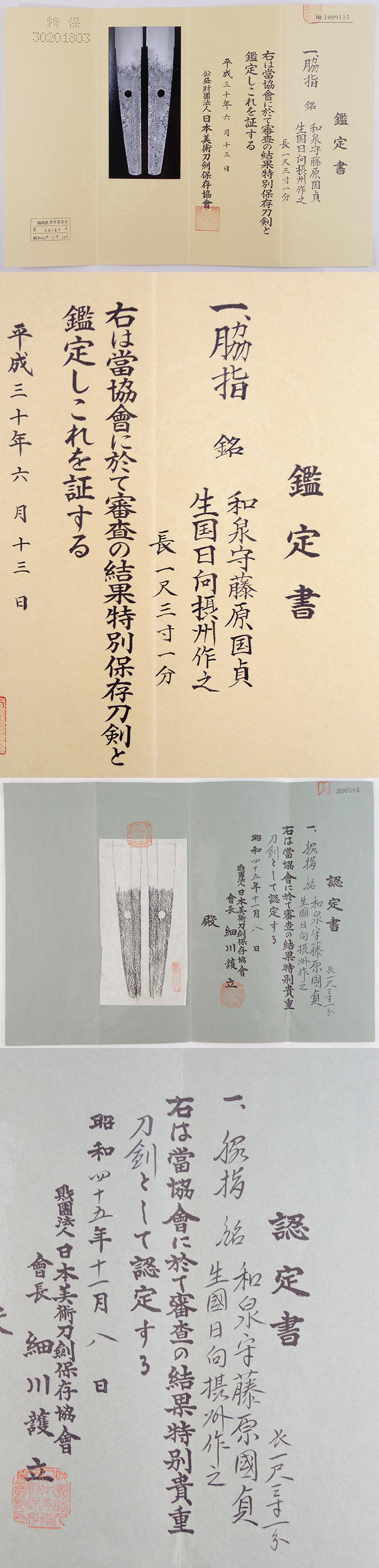 和泉守藤原国貞 (親国貞) Picture of Certificate