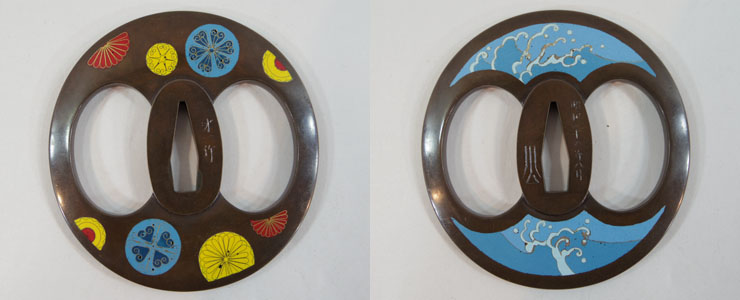 snow blossoms and wave in cloisonne inlaid tsuba [saiichi] Picture