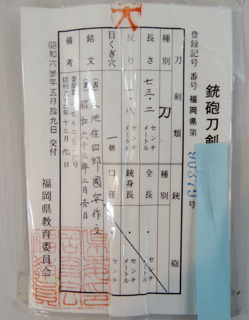 三池住四郎国安作之(小宮国安) Picture of Certificate