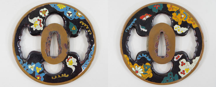 Petals inlaid tsuba No signature Picture