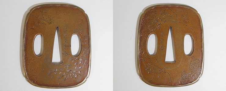 Autumn grass figure tsuba [Goto Kourai] (kaou) (The second son of Goto Ichijo) Picture