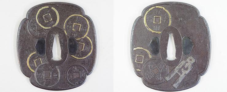 tsuba Old coins figure [yamashiro_no_kuni nishijin_ju umetada shichizaemon shigeyoshi] Picture