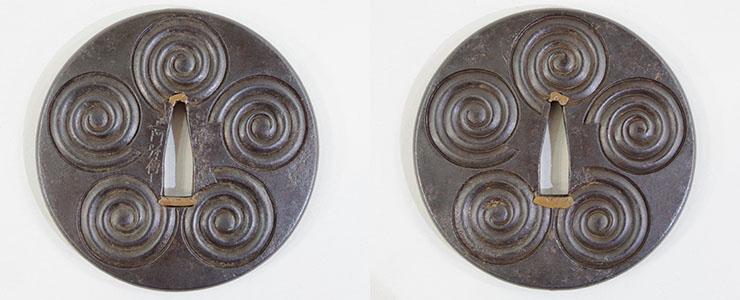 tsuba Five swirls figure [dewa akita_no_ju shoami denshichi] (Akita Shoami School) Picture