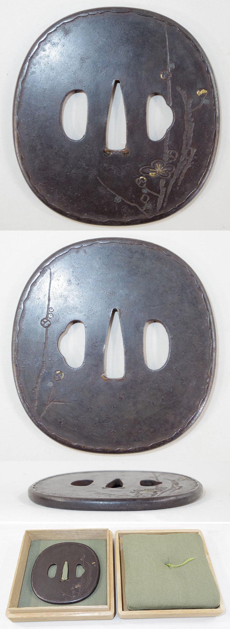 梅樹図鍔 無銘 庄内(船田派) Picture of parts