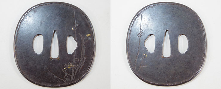 tsuba Plum tree Mumei No signature [shonai] (Funada School) Picture
